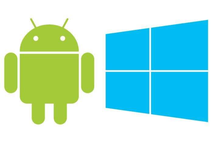 Ilustrasi Android dan Windows.